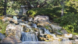 Water cascading into a pond at Arapahoe Lakes